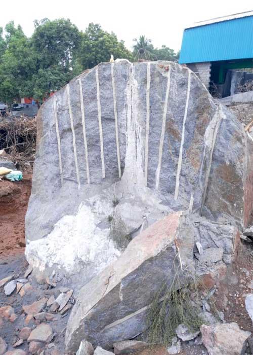 Piedra rota con cemento expansivo
